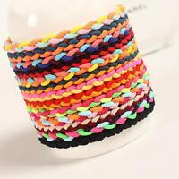 10pcs  Braided Colorful Ponytail Holder Elastic Rubber Hair Rope Hairband