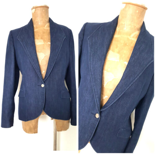 Single Vintage Blazer 90s Denim Jacket Medium Coat Jean Karriere Størrelse Blue Button Rq48cq