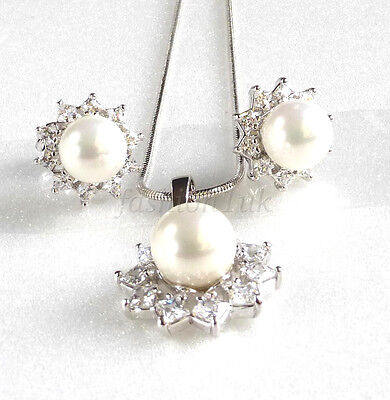 Women White Gold Plated 8mm S Pearl Stud Earrings Necklace Set Gift Uk Ebay