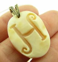 M M Scognamiglio Italy Sterling Cameo Initial H Necklace Pendant $89.95
