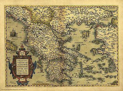 Greece in 1570 reproduction of a old map by Abraham Ortelius