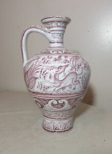 antique-handmade-painted-Portuguese-majolica-pottery-jug-pitcher-vase-ewer
