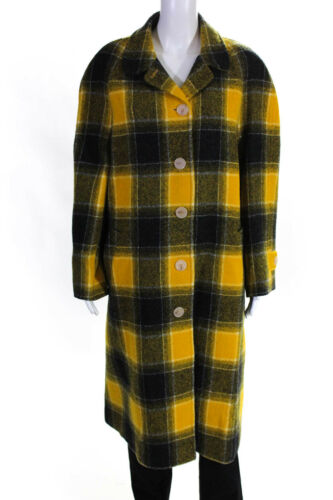 ALEXACHUNG Womens Raglan Sleeve Coat Coal Gray Amber Yellow Wool Size 12