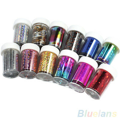 12 Rolls Romantic Star Sky Color Nail Art Transfer Foil Stickers Tips Decals Kit
