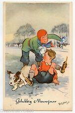 illustrateur signé . Patin à glace . Enfants . Chien . ice skate . Children. dog