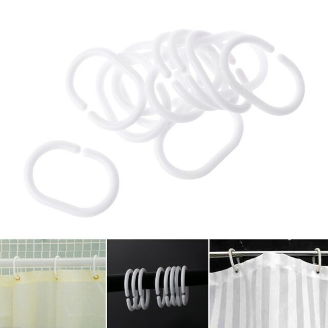 12Pcs/Pack Plastic Shower Curtain Hook Hanger Rings Bath Drape Loop Clasp Home