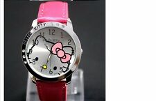 New Hello Kitty Cartoon Leather Diamond Watch Quartz Women/Girls Watch- Red