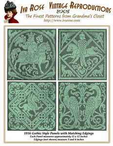 1916-Filet-Lace-Charts-Gothic-Style-Squares-and-Borders