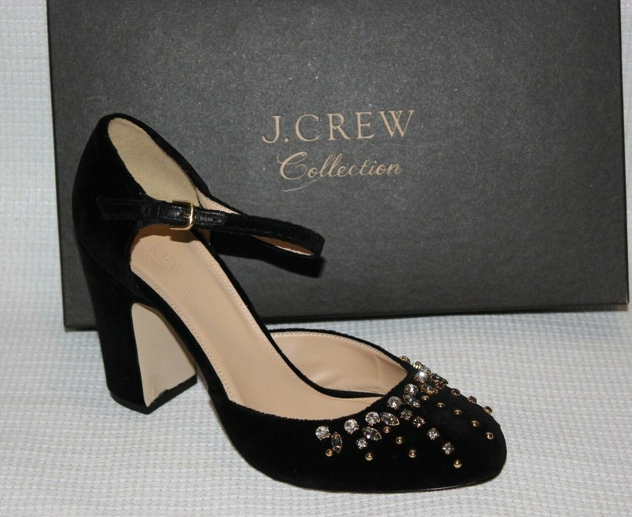 J.CREW  Collection EMBELLISHED MARY JANE PUMPS Dimensione 9 nero H1871  negozio di moda in vendita