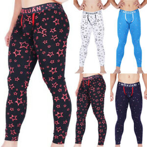 Da-Uomo-Sexy-Elastico-Pantaloni-Slim-Fit-Stampa-Skinny-Leggings-Termico-Sports