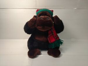 Christmas-Gorilla-Wearing-Plaid-Hat-amp-Scarf-11-034-Plush-Stuffed-Animal-t1974