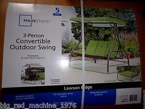 Mainstays Lawson Ridge Converting Outdoor Swing Hammock Green Seats