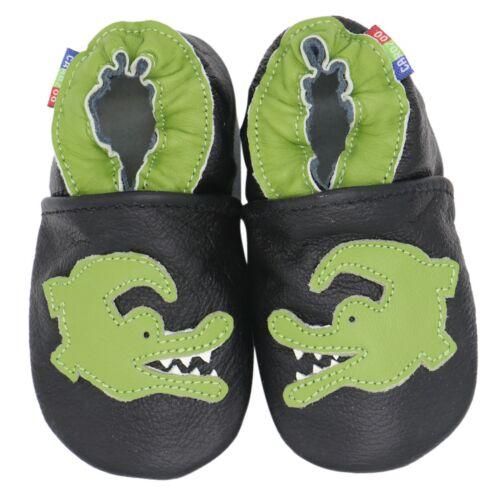 carozoo crocodile black 3-4y soft sole leather kids shoes