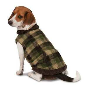 Details About Zack Zoey Berber Plaid Dog Vest Green Fully Lined Medium Warm Pocket Closeout