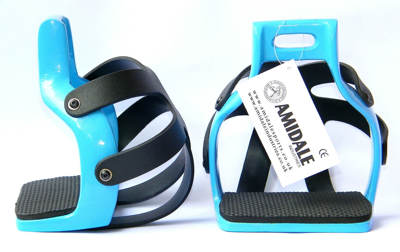 AMIDALE ALUMINIUM ENDURANCE FLEX RIDE CAGED SAFETY HORSE STIRRUPS SKY blue COLOR