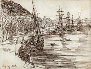 HANNAH SARAH TURNER BRIGHTWEN Small Pen & Ink Drawing TORQUAY HARBOUR - 1865