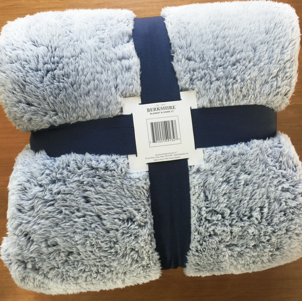 Berkshire FROSTED TIP Faux Fur QUEEN BED BLANKET Cabin Lodge NAVY blueE xl fluff