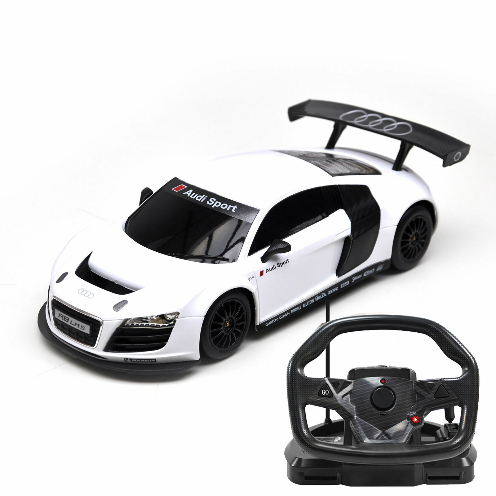 1 18 Scale R C Audi R8 RC Remote Control Steering Wheel Controlled Car  White