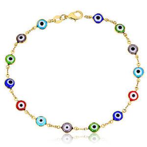 "Jewelry & Watches De Ojo La Buena Suerte 25.4cm Vivid And Great In Style Dutiful 18ct Oro Llenado Evil Eye Tobillera 10"""