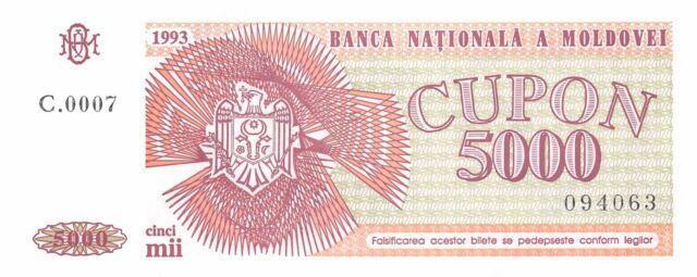 Moldova  5000  Cupon 1993  P 4  Series C.0007  Uncirculated Banknote CH817ES