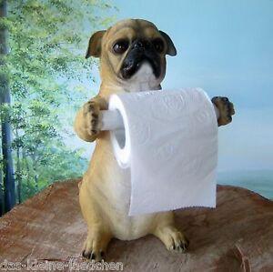 Mops als toilettenpapier halter 31cm deko figur hund bad for Mops dekoration