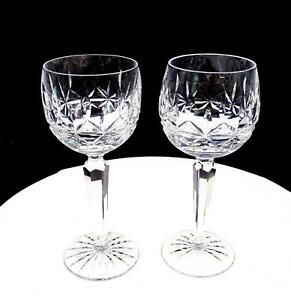 WATERFORD-CUT-CRYSTAL-SIGNED-2-PC-ROSSLARE-7-3-8-034-WINE-HOCKS-1968-2017