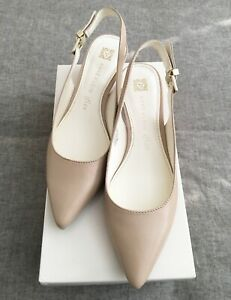Anne-Klein-EXPERT-Size-7-5-M-Natural-Pink-Slingback-Pumps-Leather-Women-New-NWT