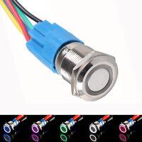 Auto KFZ Schalter Drucktaster 16mm/19mm 12V Druckschalter LED Beleuchtet 5Farben