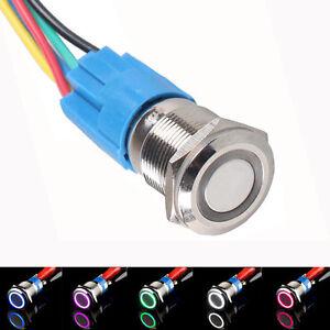 19mm 12V KFZ Schalter Drucktaster Taster Druckschalter Beleuchtet Rot