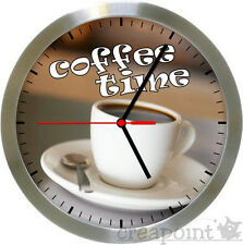 #565 Wanduhr  -> coffee time <- Funkuhr Alu gebürstet Echtglas Küchenuhr Kaffee