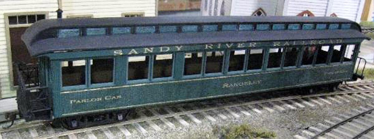 1901 JACKSON & SHARP sr&rl 46' SALONE AUTO Railstrada On30 non verniciato KIT DFM09