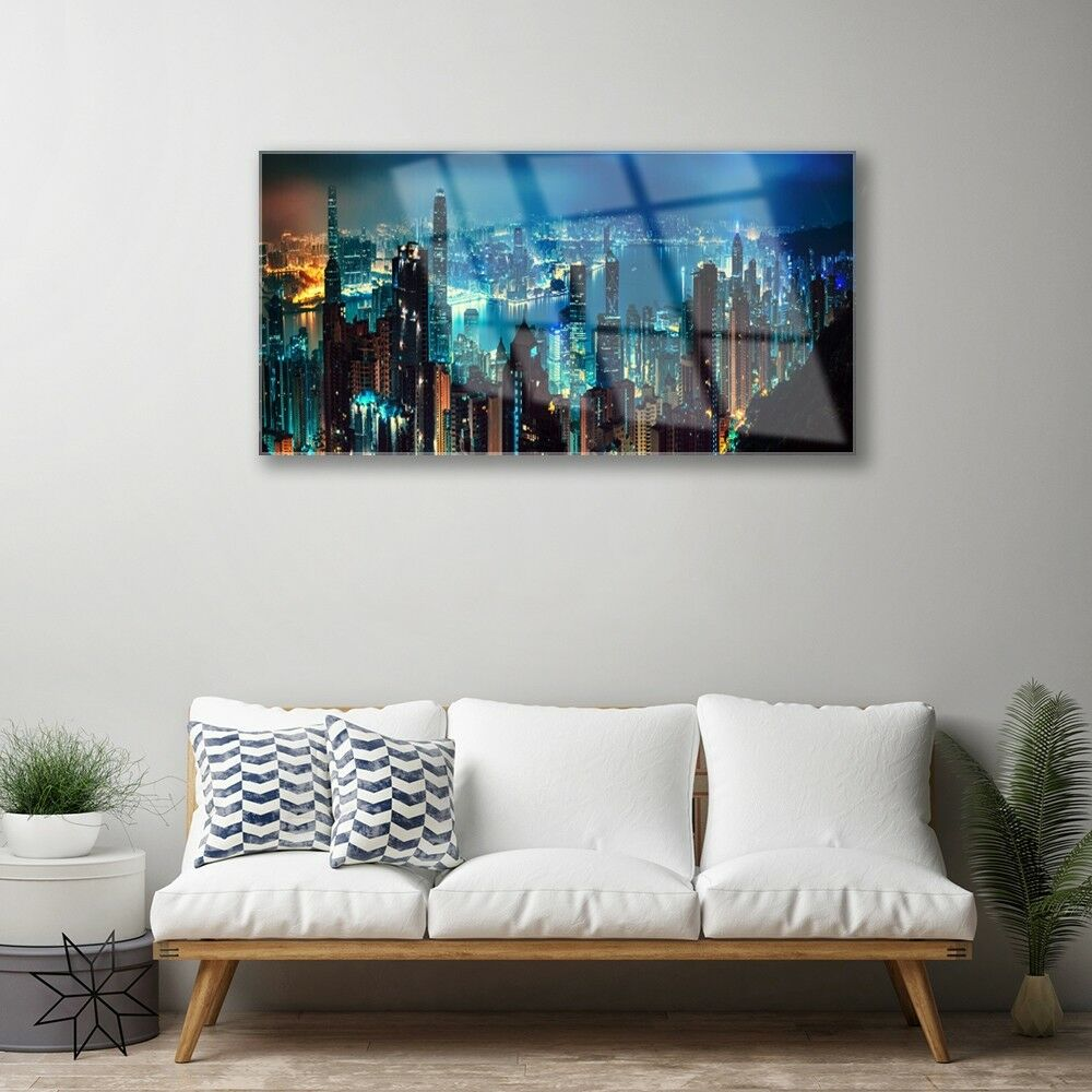 Print on Glass Wall Wall Wall art 100x50 Picture Image City Houses 99991d
