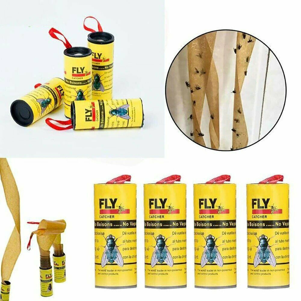 🔥 Fly Insect Catcher Paper Sticky Glue Strong Roll Bug Trap Killer Tape Strip
