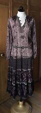 Vintage Authentic Oh Calcutta Floral Metallic Indian Cotton Gauze Dress 70's Exc