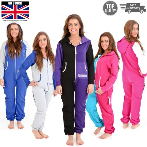 Womens Fleece One Piece Pajama Jumpsuit All in One Casual Nightwear Playsuit