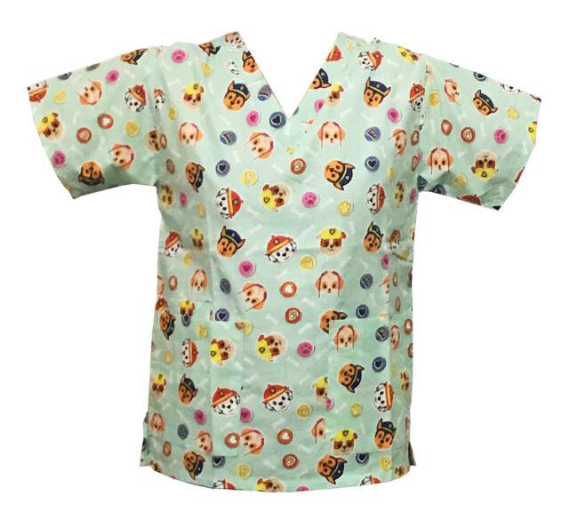 nickelodeon nursing pediatric scrubs shirt top paw patrol