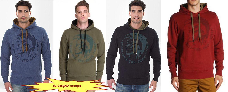 DIESEL 'Scentyn' Drawstring Hooded Mohawk Print Sweatshirt Hoodie NEW NWT