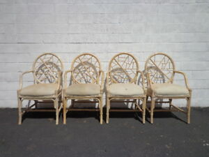 Image Is Loading 4 Rattan Chairs McGuire Cracked Ice Chinese Chippendale
