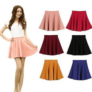 Caliente-Elegante-para-Mujer-elastizado-cintura-plisada-jersey-Lisa-Patinadora-Acampanada-Mini