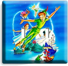 PETER PAN WENDY TINKER BELL NEVERLAND DOUBLE LIGHT SWITCH WALL PLATE COVER DECOR