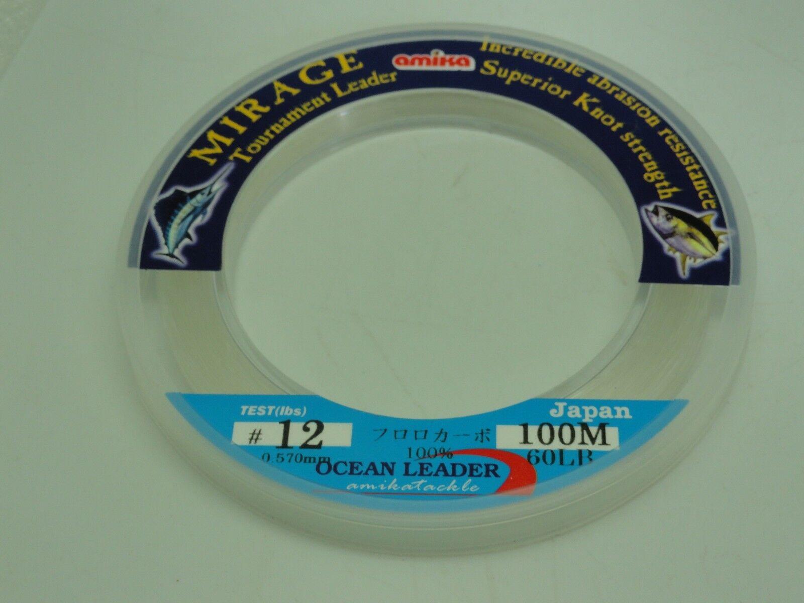 Amika Amika Amika Mirage Fluorocarbon Leader Japan  12 U.S. 40/60lb 110yd Jigging BG Fishing e045c7