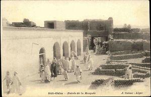 Sidi-Okba-Algerien-Algeria-1900-Entree-de-la-Mosquee-Moschee-Vintage-Postcard