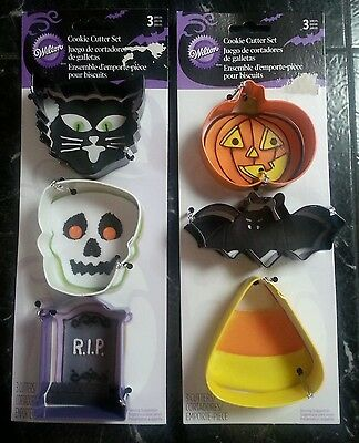Wilton Halloween Cookie Cutters Metal Cat Candy Corn Bat Skull 2 Sets 6 pc Total