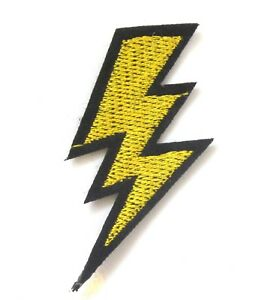 Image Is Loading Lightning Bolt Iron On Patch Gold Flash Badge