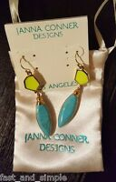 Janna Conner Designs Ivana Turquoise Yellow Earrings