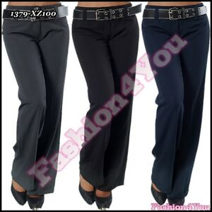 Sexy-Womens-Office-Pants-Ladies-Bootcut-Trousers-Belt-Size-6-8-10-12-14-16-UK