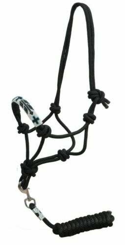 Showman Cowboy Knot Rope HALTER Beaded CROSS Noseband with Removable 7/' Lead