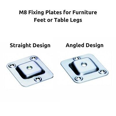 Set of 4 Straight /& Angled M6 and M8 Furniture Leg Fixing Plate Brackets