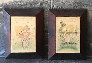 Artist-BETSY-CLARK-Wood-Hanging-Wall-Art-Plaques-2PC-SET-VINTAGE-RETRO-CUTE-60s