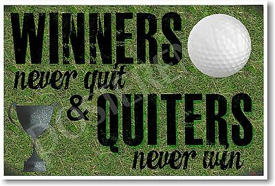 Winners Never Quit - NEW Sports Coaching Classroom Motivational POSTER